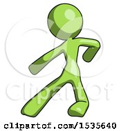 Green Design Mascot Woman Karate Defense Pose Left