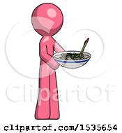 Pink Design Mascot Man Holding Noodles Offering To Viewer