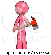 Pink Design Mascot Man Holding Red Fire Fighters Ax