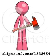 Pink Design Mascot Woman Holding Red Fire Fighters Ax