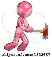 Pink Design Mascot Man With Ax Hitting Striking Or Chopping