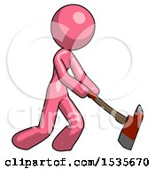 Pink Design Mascot Woman Striking With A Red Firefighters Ax