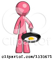 Pink Design Mascot Man Frying Egg In Pan Or Wok