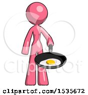 Pink Design Mascot Woman Frying Egg In Pan Or Wok