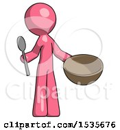 Pink Design Mascot Man With Empty Bowl And Spoon Ready To Make Something