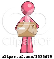 Pink Design Mascot Woman Holding Box Sent Or Arriving In Mail