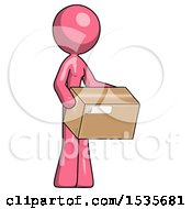 Pink Design Mascot Woman Holding Package To Send Or Recieve In Mail