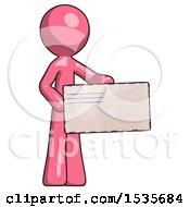 Pink Design Mascot Man Presenting Large Envelope