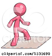 Pink Design Mascot Man On Postage Envelope Surfing