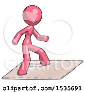 Pink Design Mascot Woman On Postage Envelope Surfing