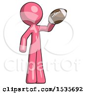 Pink Design Mascot Man Holding Football Up