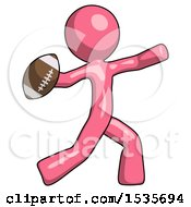 Pink Design Mascot Man Throwing Football