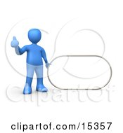 Blue Figure Giving The Thumbs Up While Standing By A Blank Sign Which Is Ready For An Advertisement