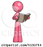 Pink Design Mascot Woman Reading Book While Standing Up Facing Away