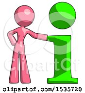 Pink Design Mascot Woman With Info Symbol Leaning Up Against It