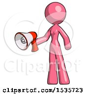 Pink Design Mascot Woman Holding Megaphone Bullhorn Facing Right