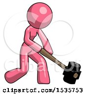 Pink Design Mascot Woman Hitting With Sledgehammer Or Smashing Something At Angle