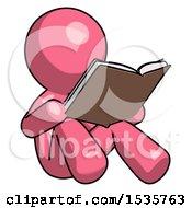 Pink Design Mascot Man Reading Book While Sitting Down
