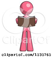 Pink Design Mascot Woman Reading Book While Standing Up Facing Viewer