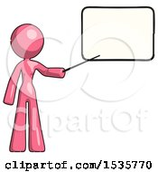Pink Design Mascot Woman Pointing At Dry Erase Board With Stick Giving Presentation