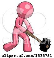 Pink Design Mascot Man Hitting With Sledgehammer Or Smashing Something At Angle