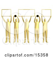 Group Of 5 Golden People Holding Up Blank Boxes And Dots For A Domain Name To Be Entered