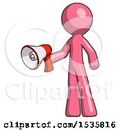 Pink Design Mascot Man Holding Megaphone Bullhorn Facing Right