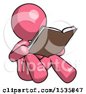 Poster, Art Print Of Pink Design Mascot Woman Reading Book While Sitting Down