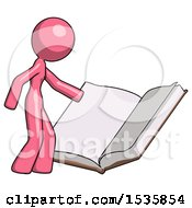 Pink Design Mascot Woman Reading Big Book While Standing Beside It