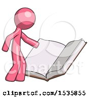 Pink Design Mascot Man Reading Big Book While Standing Beside It