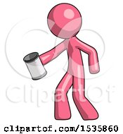 Pink Design Mascot Man Begger Holding Can Begging Or Asking For Charity Facing Left
