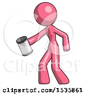 Pink Design Mascot Woman Begger Holding Can Begging Or Asking For Charity Facing Left
