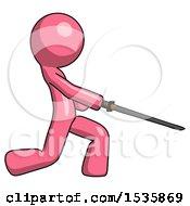 Pink Design Mascot Man With Ninja Sword Katana Slicing Or Striking Something