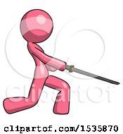 Pink Design Mascot Woman With Ninja Sword Katana Slicing Or Striking Something