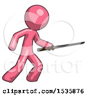 Pink Design Mascot Man Stabbing With Ninja Sword Katana