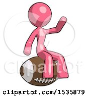 Pink Design Mascot Woman Sitting On Giant Football