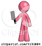 Pink Design Mascot Man Holding Meat Cleaver