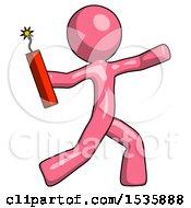 Pink Design Mascot Man Throwing Dynamite