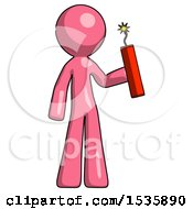 Pink Design Mascot Man Holding Dynamite With Fuse Lit