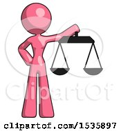 Pink Design Mascot Woman Holding Scales Of Justice