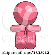 Pink Design Mascot Man Sitting With Head Down Facing Forward