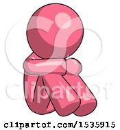 Pink Design Mascot Man Sitting With Head Down Facing Angle Right