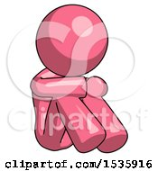Pink Design Mascot Woman Sitting With Head Down Facing Angle Right