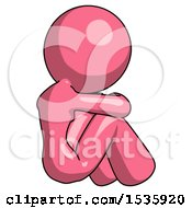 Pink Design Mascot Woman Sitting With Head Down Back View Facing Right