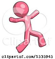 Pink Design Mascot Man Running Away In Hysterical Panic Direction Right
