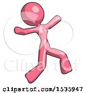 Pink Design Mascot Woman Running Away In Hysterical Panic Direction Right