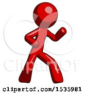 Red Design Mascot Man Martial Arts Defense Pose Right