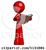 Red Design Mascot Woman Reading Book While Standing Up Facing Away