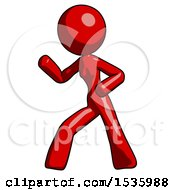 Red Design Mascot Woman Martial Arts Defense Pose Left