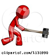 Red Design Mascot Man Hitting With Sledgehammer Or Smashing Something